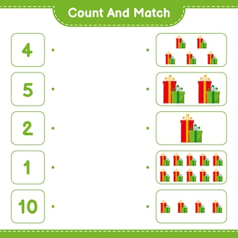 Conte e combine, conte o número de caixas de presente e combine com os números certos. jogo educativo infantil Vetor Premium
