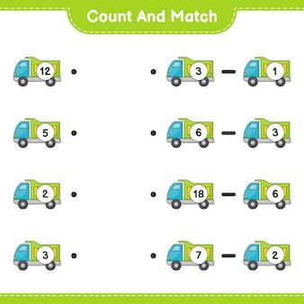 Conte e combine, conte o número de caminhões e combine com os números certos. jogo educativo para crianças, planilha para impressão