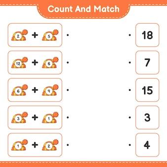 Conte e combine, conte o número de chapéu e combine com os números certos. jogo educativo para crianças