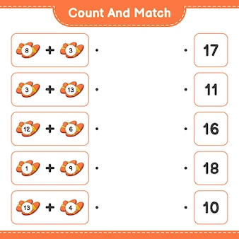 Conte e combine, conte o número de chinelos e combine com os números certos