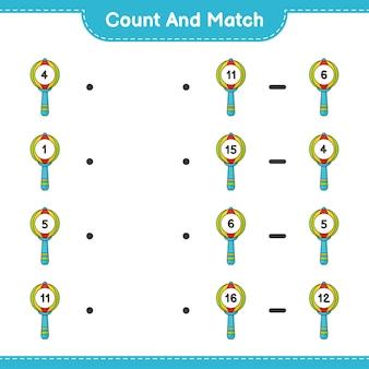 Conte e combine, conte o número de chocalho de bebê e combine com os números certos. jogo educativo para crianças, planilha para impressão