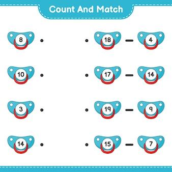 Conte e combine, conte o número de chupetas e combine com os números certos. jogo educativo para crianças, planilha para impressão