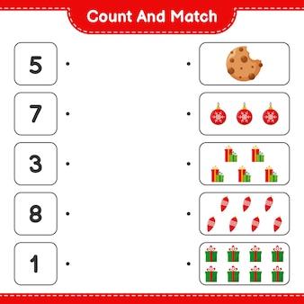 Conte e combine, conte o número de decoração de natal e combine com os números certos. jogo educativo infantil