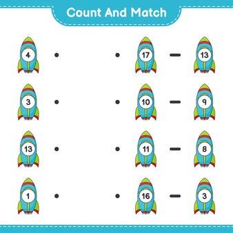 Conte e combine, conte o número de foguetes e combine com os números certos. jogo educativo para crianças, planilha para impressão
