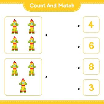 Conte e combine, conte o número de foguetes e combine com os números certos