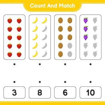 Conte e combine, conte o número de frutas e combine com os números certos. jogo educativo para crianças, planilha para impressão