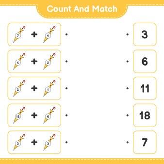 Conte e combine, conte o número de guarda-chuva e combine com os números certos