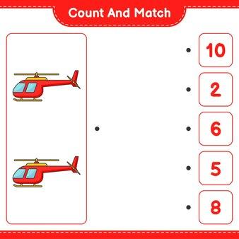 Conte e combine, conte o número de helicópteros e combine com os números certos. jogo educativo para crianças, planilha para impressão, ilustração vetorial