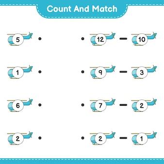 Conte e combine, conte o número de helicópteros e combine com os números certos. jogo educativo para crianças, planilha para impressão