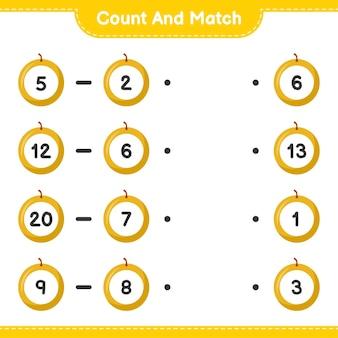 Conte e combine, conte o número de honey melon e combine com os números certos. jogo educativo para crianças, planilha para impressão