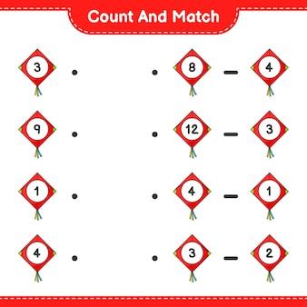 Conte e combine, conte o número de kite e combine com os números certos. jogo educativo para crianças, planilha para impressão