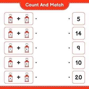 Conte e combine, conte o número de lanternas e combine com os números certos