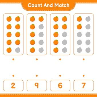 Conte e combine, conte o número de laranja e combine com os números certos. jogo educativo para crianças, planilha para impressão