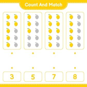 Conte e combine, conte o número de limão e combine com os números certos. jogo educativo para crianças, planilha para impressão
