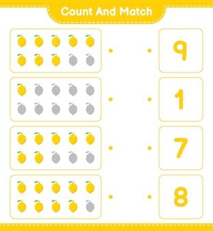 Conte e combine, conte o número de limão e combine com os números certos. jogo educativo para crianças, planilha para impressão.