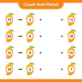 Conte e combine, conte o número de manga e combine com os números certos. jogo educativo para crianças, planilha para impressão