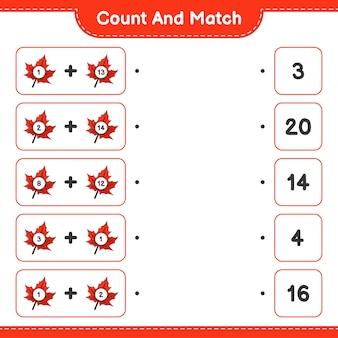 Conte e combine, conte o número de maple leaf e combine com os números certos