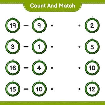 Conte e combine, conte o número de melancias e combine com os números certos. jogo educativo para crianças, planilha para impressão