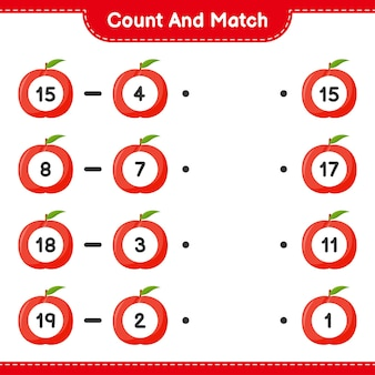 Conte e combine, conte o número de nectarina e combine com os números certos. jogo educativo para crianças, planilha para impressão
