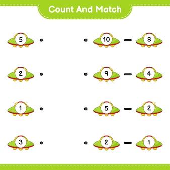 Conte e combine, conte o número de ovnis e combine com os números certos. jogo educativo para crianças, planilha para impressão