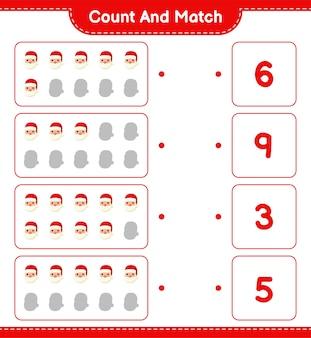 Conte e combine, conte o número de papai noel e combine com os números certos. jogo educativo infantil