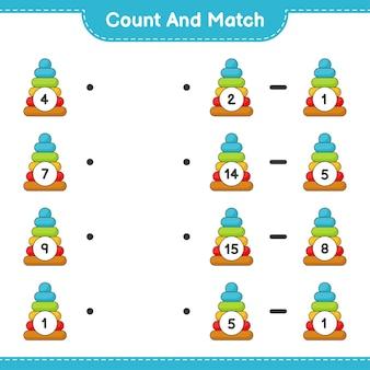 Conte e combine, conte o número de pyramid toy e combine com os números certos. jogo educativo para crianças, planilha para impressão