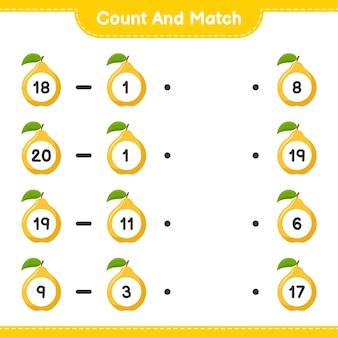 Conte e combine, conte o número de quince e combine com os números certos. jogo educativo para crianças, planilha para impressão