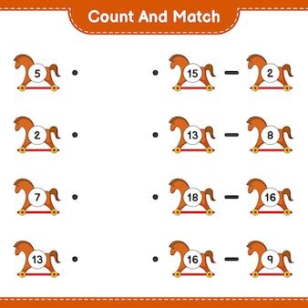 Conte e combine, conte o número de rocking horse e combine com os números certos. jogo educativo para crianças, planilha para impressão