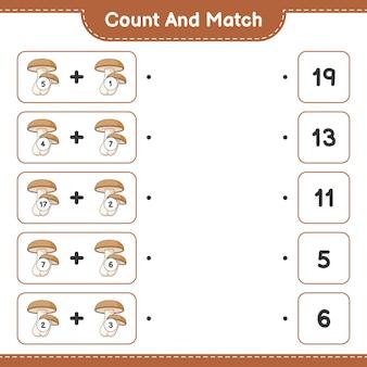 Conte e combine, conte o número de shiitake e combine com os números certos