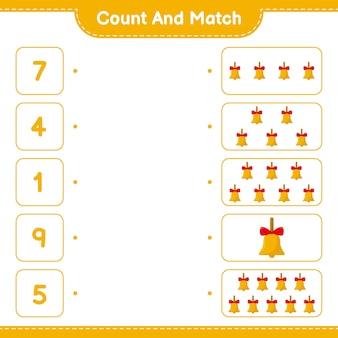 Conte e combine, conte o número de sinos de natal dourados e combine com os números certos. jogo educativo infantil