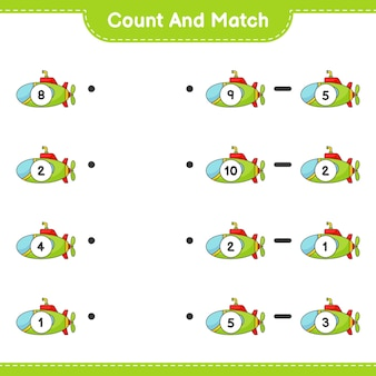 Conte e combine, conte o número de submarinos e combine com os números certos. jogo educativo para crianças, planilha para impressão