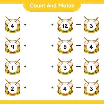 Conte e combine, conte o número de tambores e combine com os números certos. jogo educativo para crianças, planilha para impressão