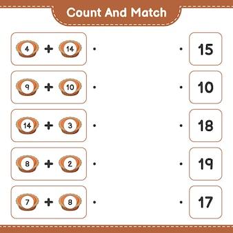 Conte e combine, conte o número de tortas e combine com os números certos. jogo educativo para crianças