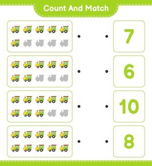 Conte e combine, conte o número de trens e combine com os números certos.