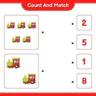 Conte e combine, conte o número de trens e combine com os números certos