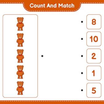 Conte e combine, conte o número de ursinhos de pelúcia e combine com os números certos. jogo educativo para crianças, planilha para impressão, ilustração vetorial