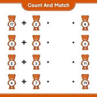 Conte e combine, conte o número de ursinhos de pelúcia e combine com os números certos. jogo educativo para crianças, planilha para impressão