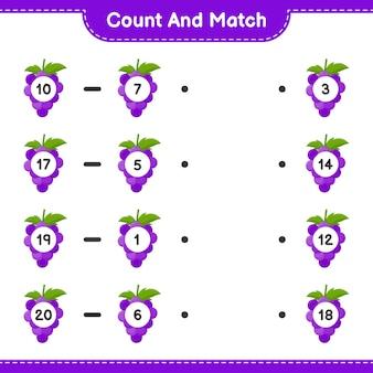 Conte e combine, conte o número de uvas e combine com os números certos. jogo educativo para crianças, planilha para impressão