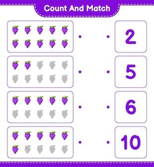 Conte e combine, conte o número de uvas e combine com os números certos. jogo educativo para crianças, planilha para impressão.