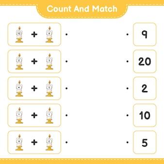Conte e combine, conte o número de velas e combine com os números certos