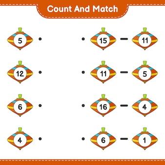 Conte e combine, conte o número de whirligig toy e combine com os números certos. jogo educativo para crianças, planilha para impressão
