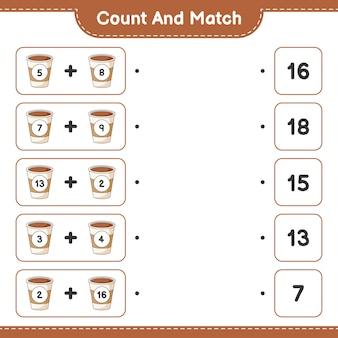 Conte e combine, conte o número de xícaras de café e combine com os números certos