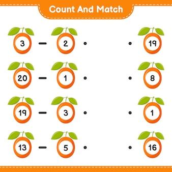 Conte e combine, conte o número de ximenia e combine com os números certos. jogo educativo para crianças, planilha para impressão