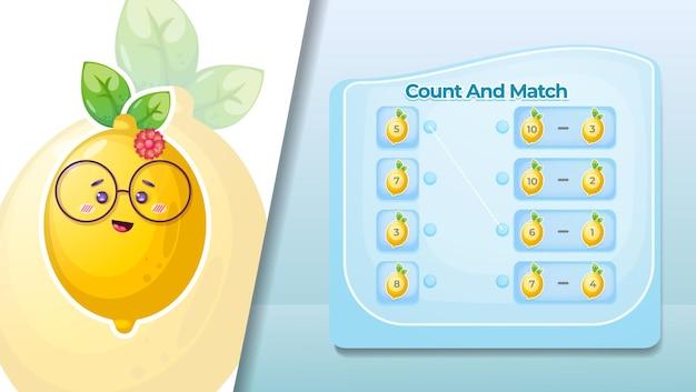 Conte e combine o número em frutas de limão.
