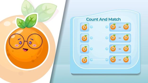 Conte e combine o número nas frutas laranja.