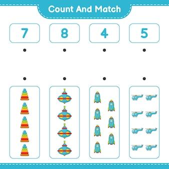 Conte o número de pirâmide de brinquedo whirligig toy rocket helicóptero e combine com os números corretos
