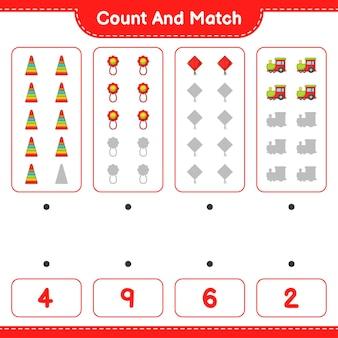 Conte o número do trem de pipa pyramid toy baby rattle e combine com os números corretos