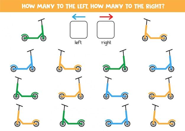 Conte quantas scooters vão para a esquerda e direita.