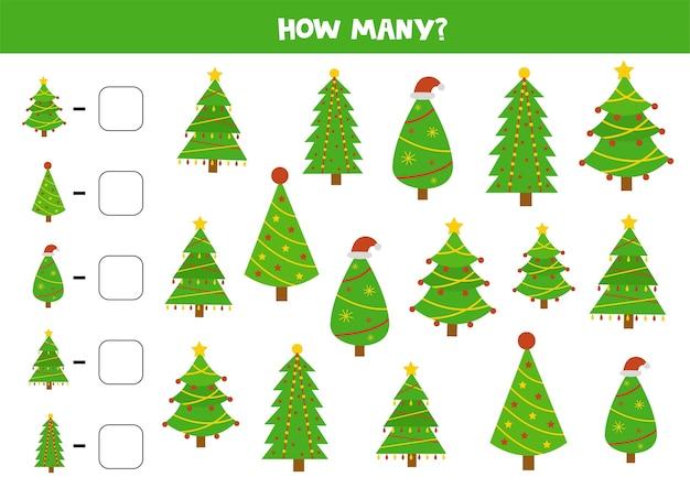 Conte todas as árvores de natal. jogo educativo de matemática para crianças. planilha de contagem para crianças.