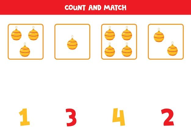 Conte todas as bolas de natal e combine com números